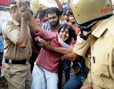SFI march to Law Academy turns violent, 15 cops hurt
