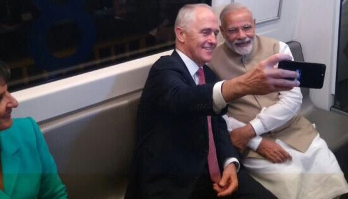 At the point when Australian PM Malcolm Turnbull took selfie with PM Narendra Modi in Delhi metro