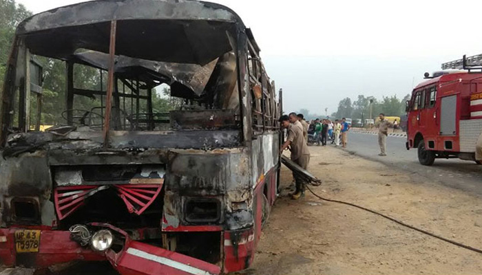 22 burnt alive as bus catches fire after collision with truck in Bareily