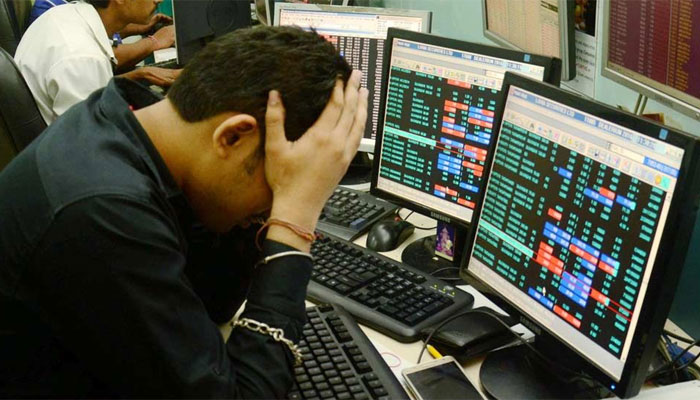 Sensex gets a scare on global headwinds, dives over 400 points; Nifty dips below 9,900-mark.