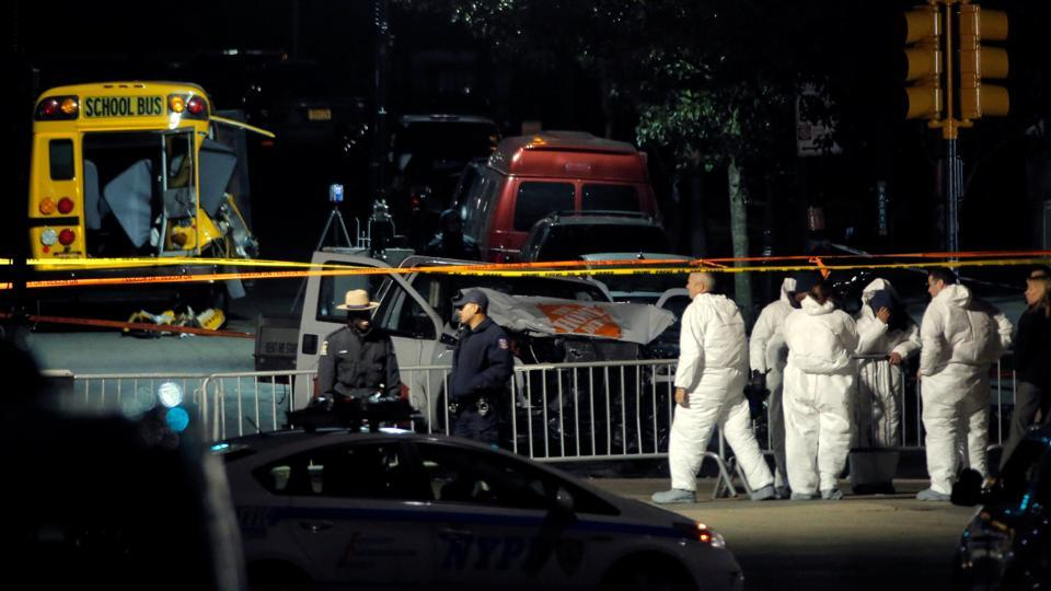 Eight dead in suspected terror truck attack on Manhattan bike path, Trump steps up 'extreme vetting' of foreign travellers.