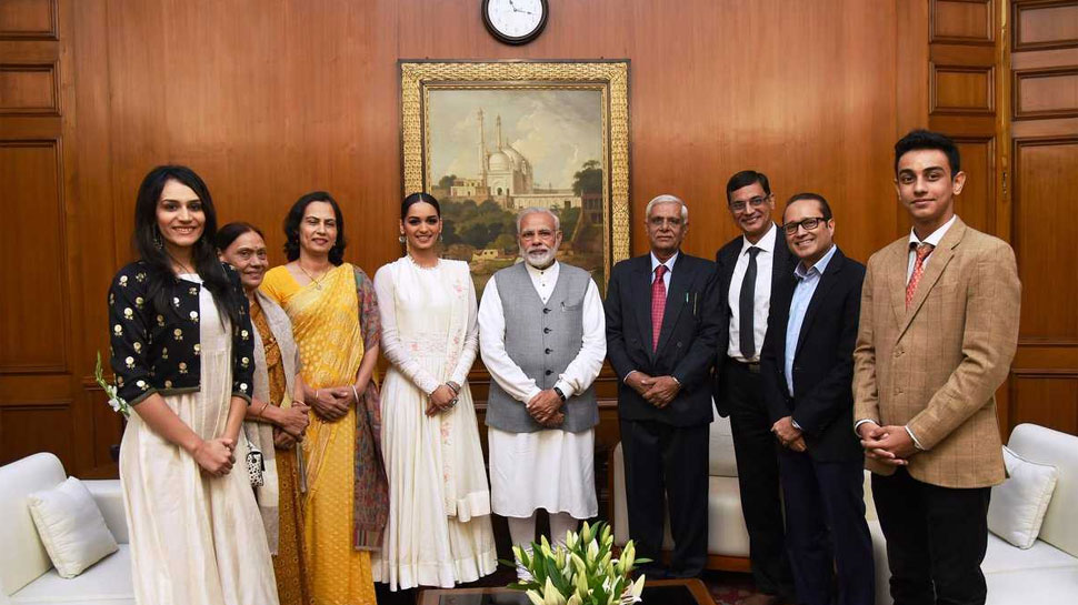 Miss World 2017 Manushi Chhillar meets PM Narendra Modi