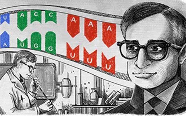 Google honours Nobel Laureate Har Gobind Khorana with a doodle