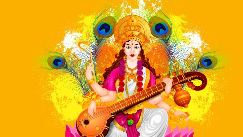Saraswati Puja 2018: Women and men offer prayers, children take study break