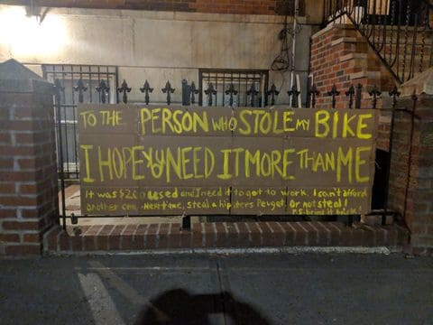I Posted A Huge Note For The Thief Who Stole My Bike. Then My Doorbell Rang