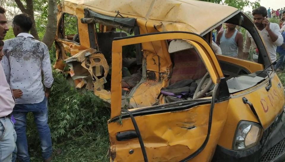 13 children killed after school van collides with train at railway crossing in UP's Kushinagar