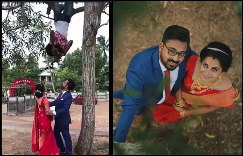 Perfect-Shot! Kerala photographer hangs upside down from a tree to take perfect picture of the couple
