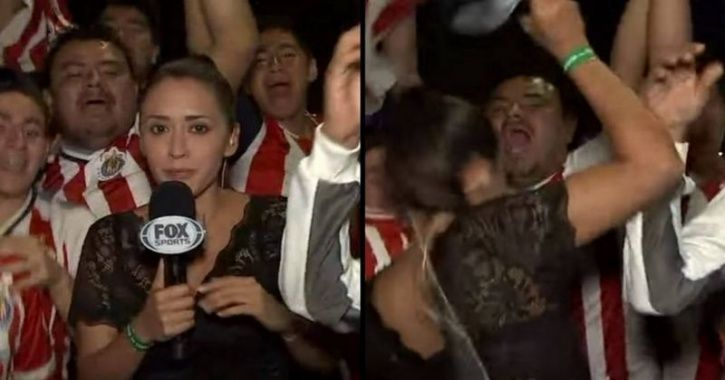 Man Gropes Female Reporter On Live Television, She Smacks Him On The Head With The Microphone