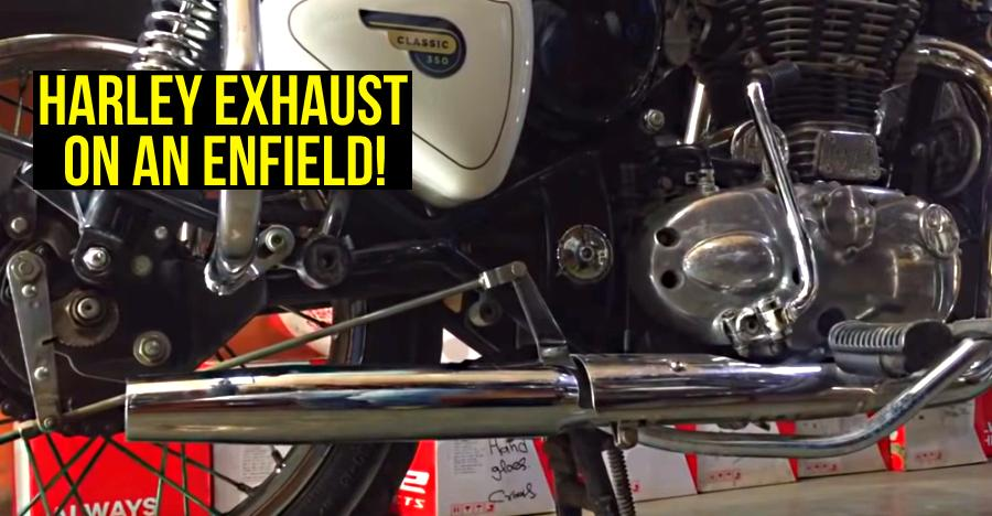 Royal Enfield Classic with Harley Davidson silencer: What it sounds like [Video]