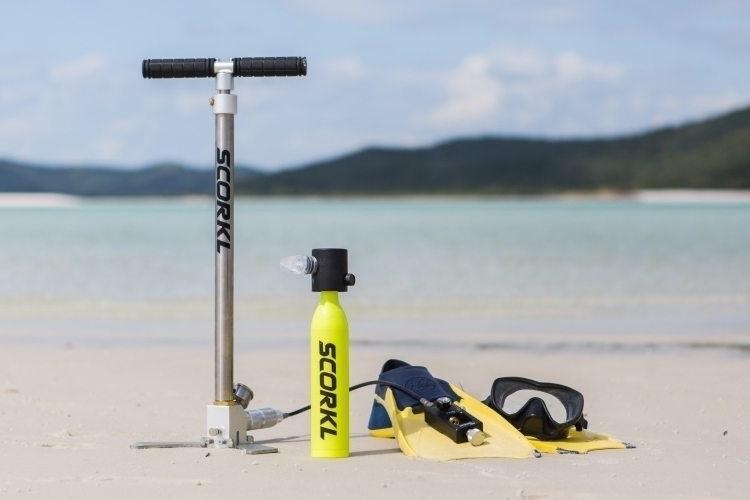 Scorkl Is A Mini-Scuba Tank That You Can Refill Via A Floor Pump