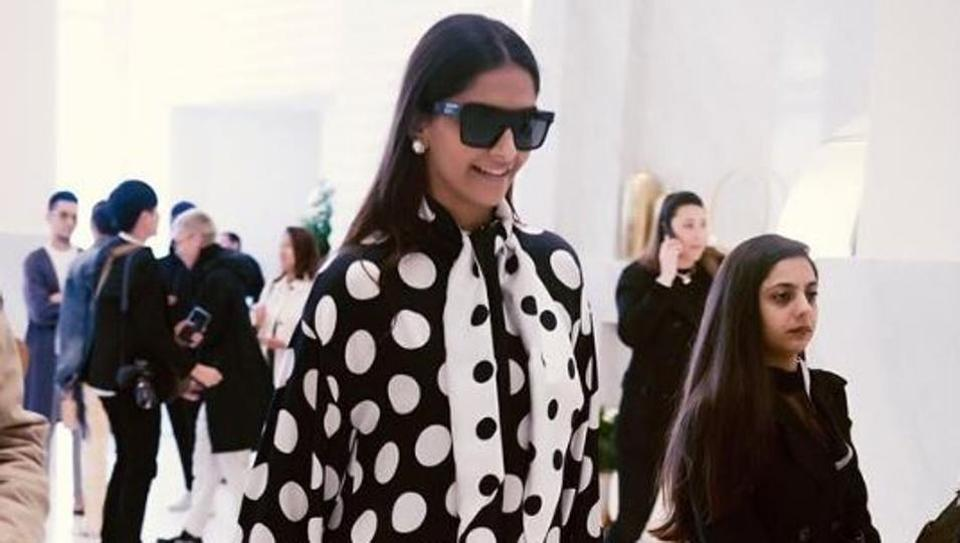 Sonam Kapoor reaches Cannes in black polka dot dress. See pics