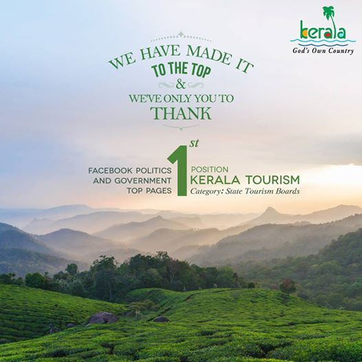 Kerala Tourism Page ranked best in country by Facebook