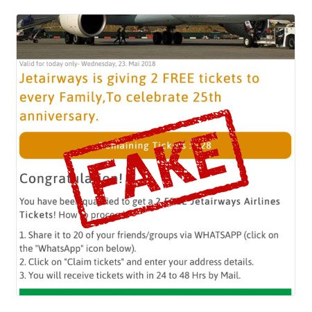 WhatsApp viral message: Is Jet Airways giving 2 free tickets? Here is truth