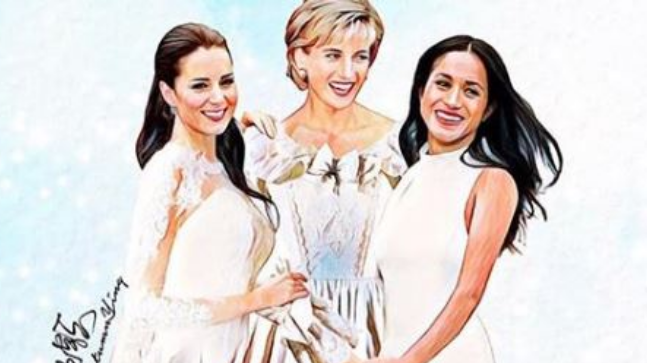 Princess Diana meets Meghan and Kate in these paintings and Internet is gushing over them