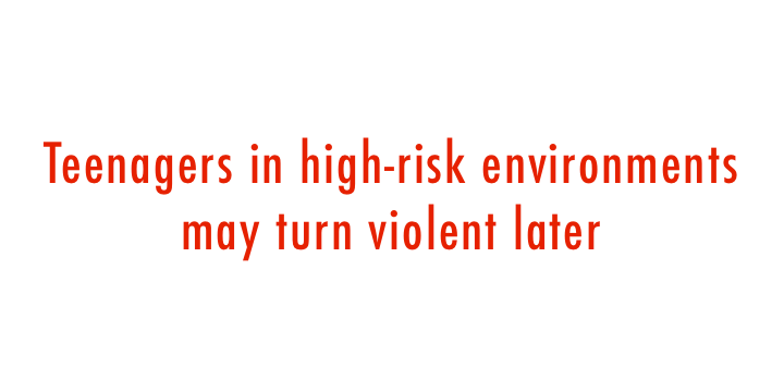 Teenagers in high-risk environments may turn violent later