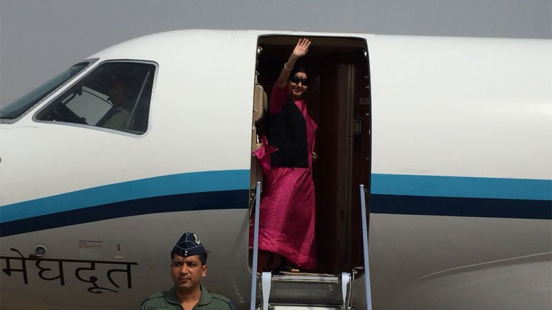 Mid-air scare as Sushma Swaraj
