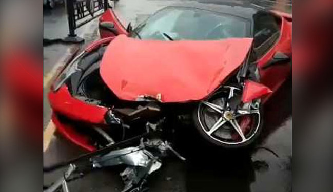 Woman Crashes Ferrari Moments After Renting It. Watch