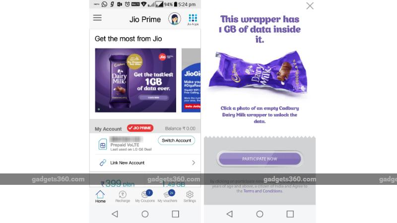 Reliance Jio Offers 1GB Free 4G Data With a Cadbury Dairy Milk Chocolate