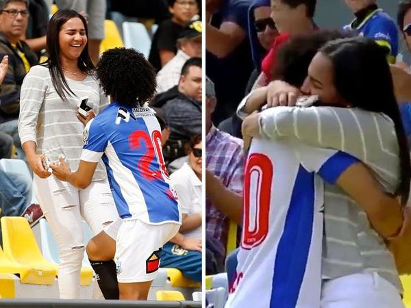 Watch: Footballer celebrates his goal by proposing to girlfriend, ends up getting yellow carded