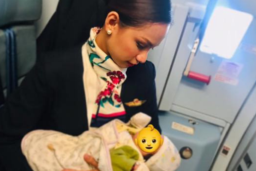 Air Hostess Breastfeeds Passenger