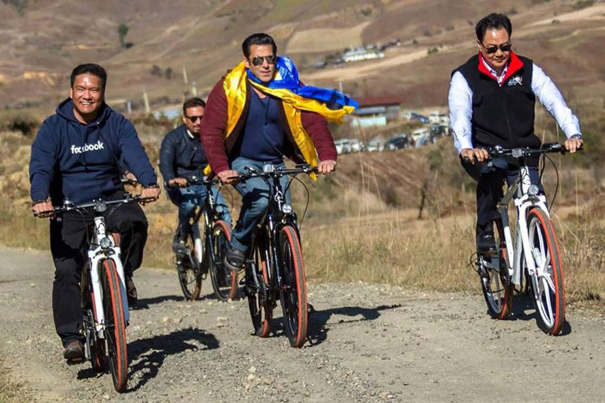 Salman Khan goes cycling in Arunachal Pradesh with chief minister Pema Khandu, union minister Kiren Rijiju. See pics