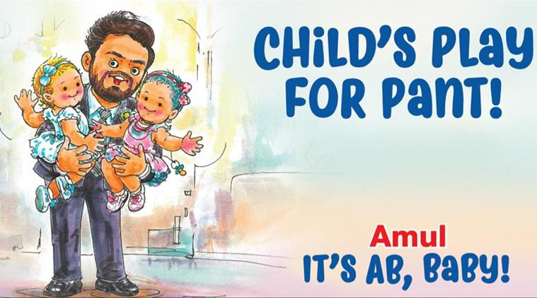 Amul lauds Rishabh Pant's babysitting act with this cartoon
