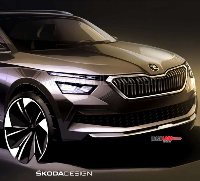 Skoda Kamiq SUV front and rear first sketch revealed – Official