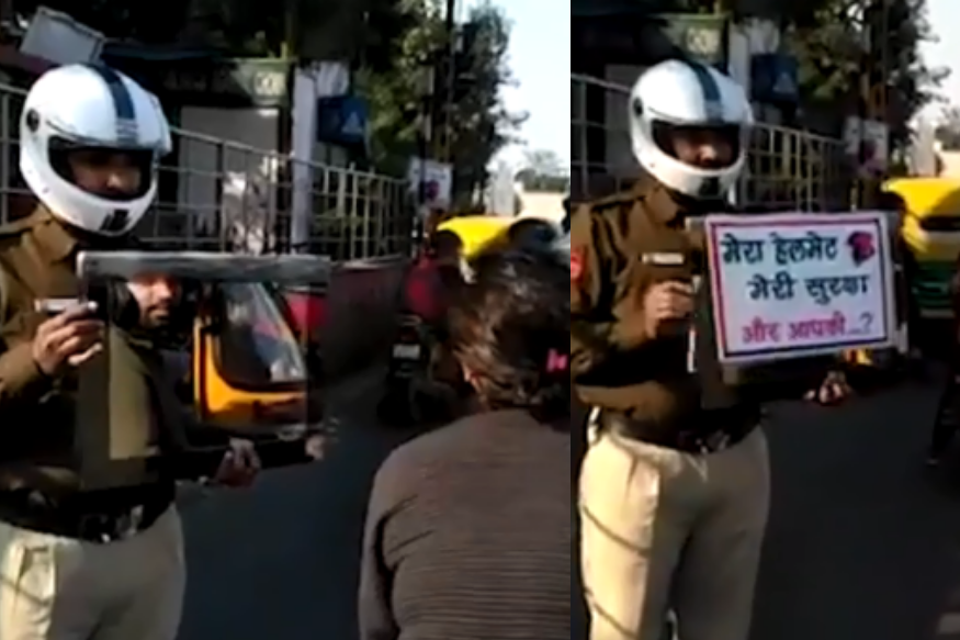 Delhi Traffic Cop Holds Up Mirror to Show Helmet-less Passenger the