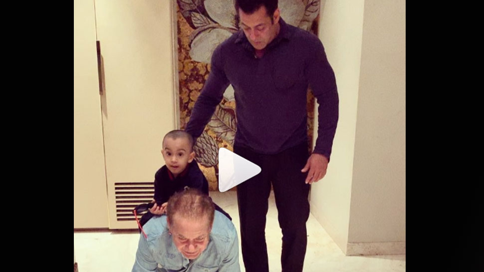 This video of Salman Khan with nephew Ahil and father Salim Khan is winning hearts on internet—Watch