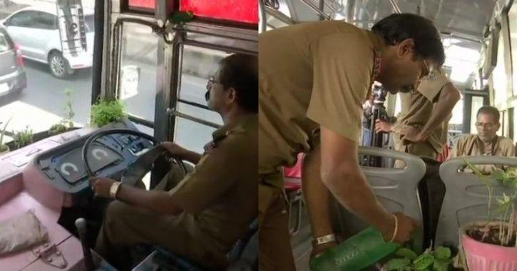 This Bengaluru Bus Driver Is Giving Back To The City With A Mini-Garden He Keeps Inside The Bus
