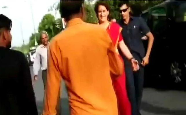 Watch: Priyanka Gandhi Stops Convoy, Shakes Hands With PM Modi Supporters