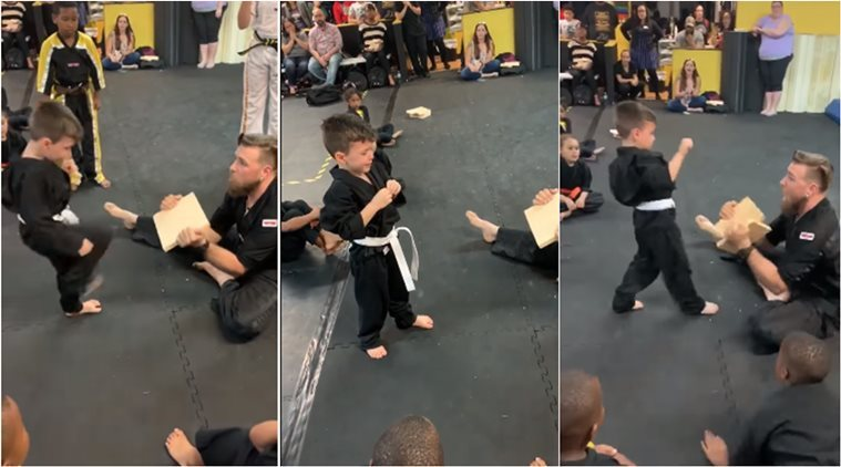 Heartwarming video of a little karate boy refusing to give up is going viral