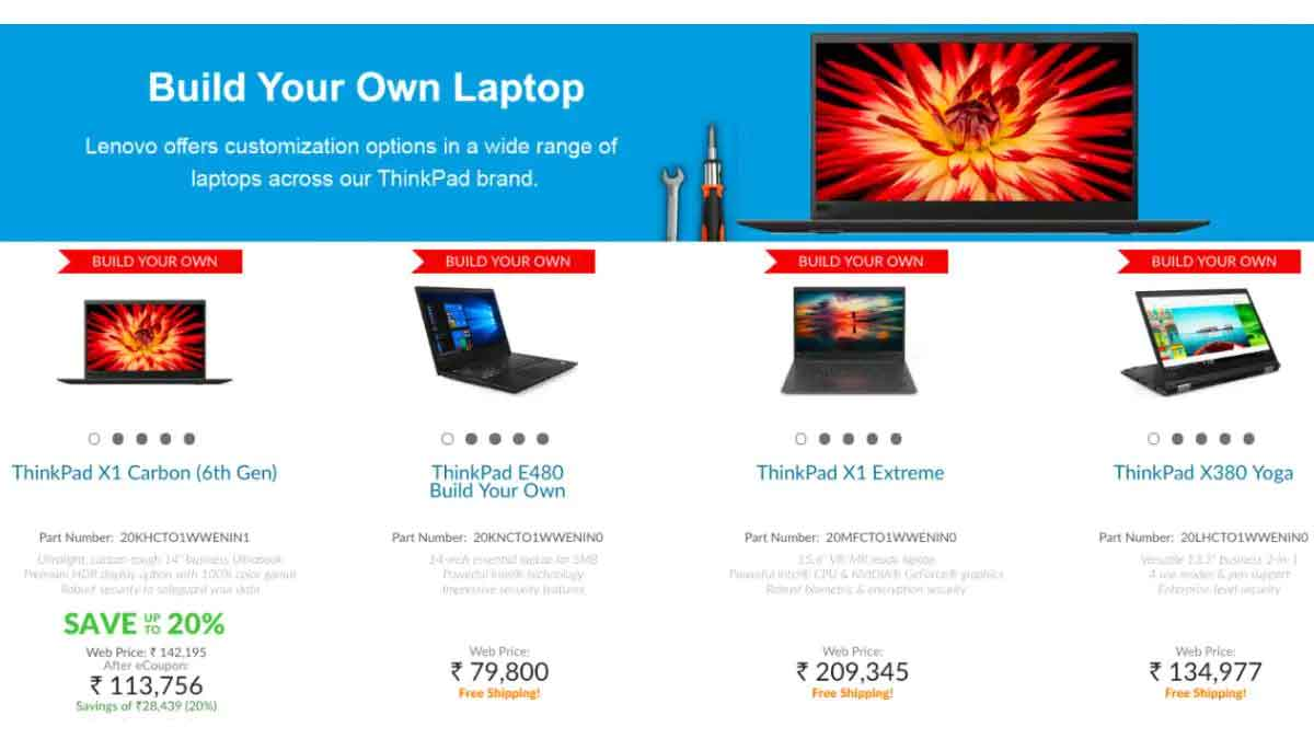 Lenovo ThinkPad Laptops Now Fully Customisable in India via Lenovo.com, Other Models to be Included Soon