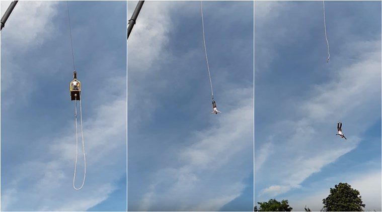 Man's bungee jumping rope snaps mid-air. Horrifying incident captured on camera