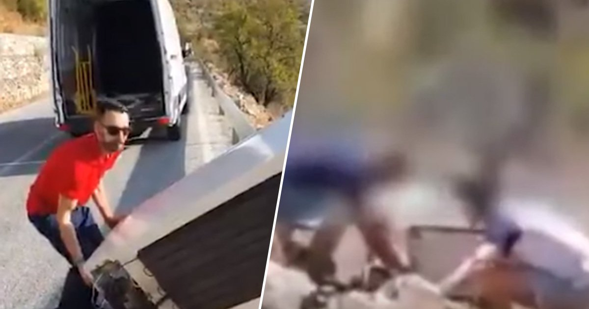 Man Throws Fridge Off Cliff, Cops Make Him Drag It Back. Watch