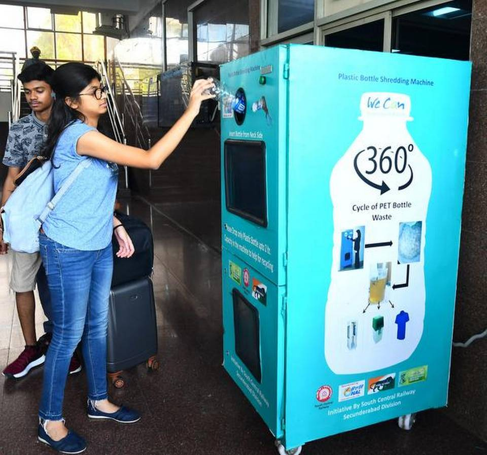 Railways to help recharge phones of passengers using plastic bottle crushers at stations