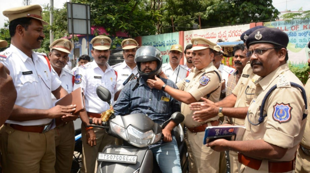 In Hyderabad, Traffic Violators Get Helmets Instead Of Challans From Cops