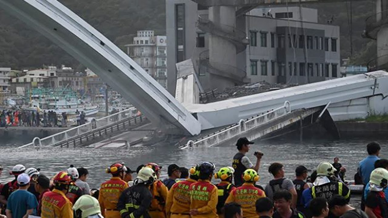 On Camera, 460-Foot Bridge Collapses In Taiwan, Crushes Boats