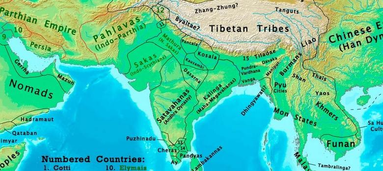 The changing map of India from 1 AD to the 20th century
