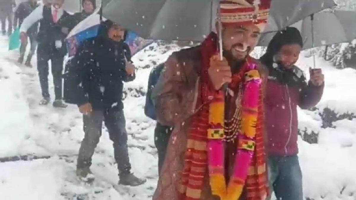 Groom, baraatis walk 4km in snow to bride's house. Twitter bestows 'best groom award'