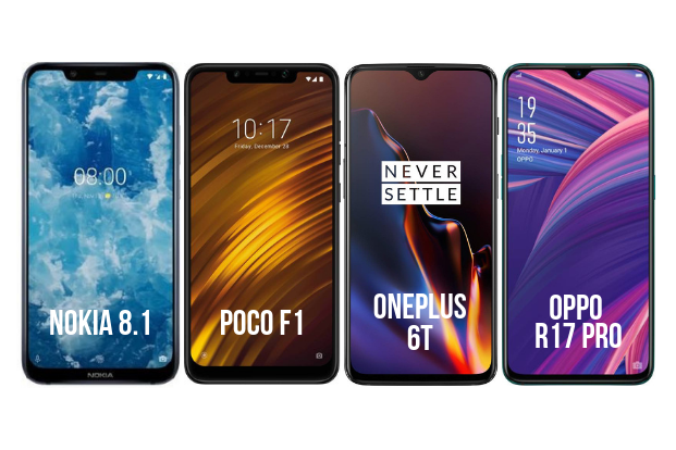 Comparison: Nokia 8.1 vs POCO F1 vs OnePlus 6T vs Oppo R17 Pro