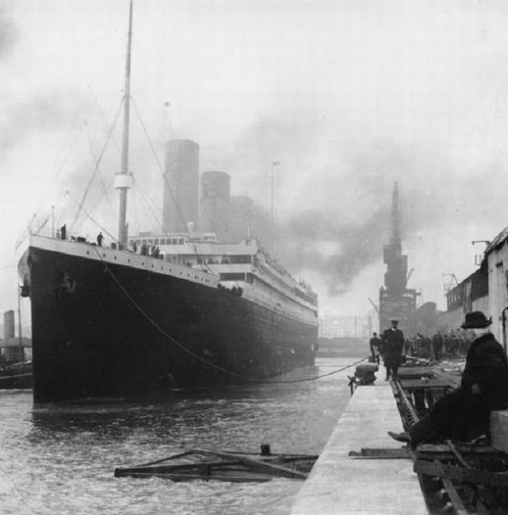 The majestic Titanic leaving its port in Southampton UK, on 10 April 1912.