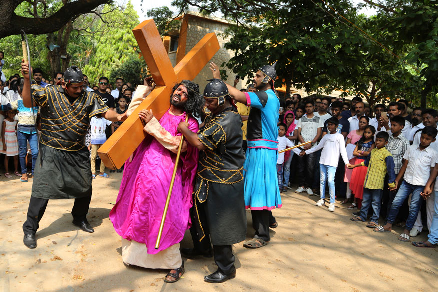 Christian devotees reenact the crucifixion of Jesus Christ to mark Good Friday in Bangalore.