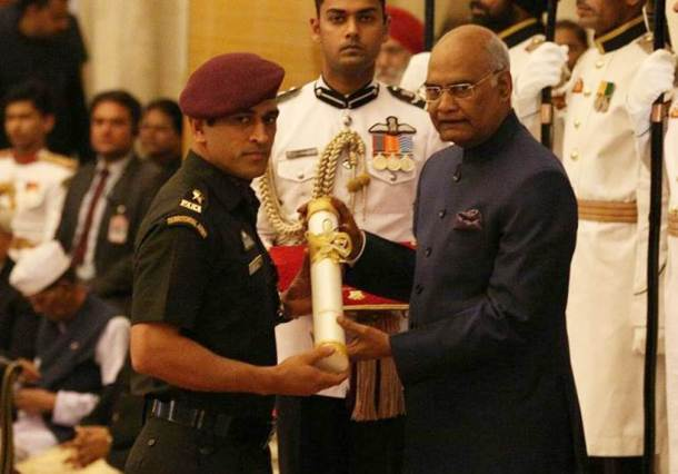Former India captain Mahendra Singh Dhoni was conferred with Padma Bhushan Award on Monday at Rashtrapati Bhavan in New Delhi by President of India Ram Nath Kovind. Coincidentally, he received the honour on the same day when he led India to on the same day when he guided India to its second ICC World Cup triumph exactly seven years ago.