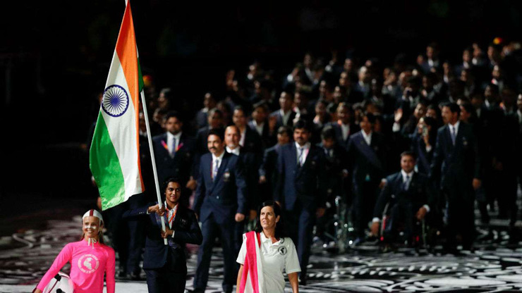 PV Sindhu leading Team India at CWG 2018 opening ceremony.