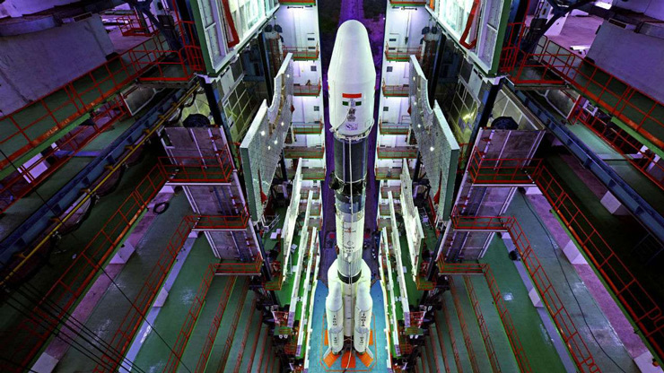 A view of fully integrated GSLV-F08 inside the Vehicle Assembly Building at Sriharikota.