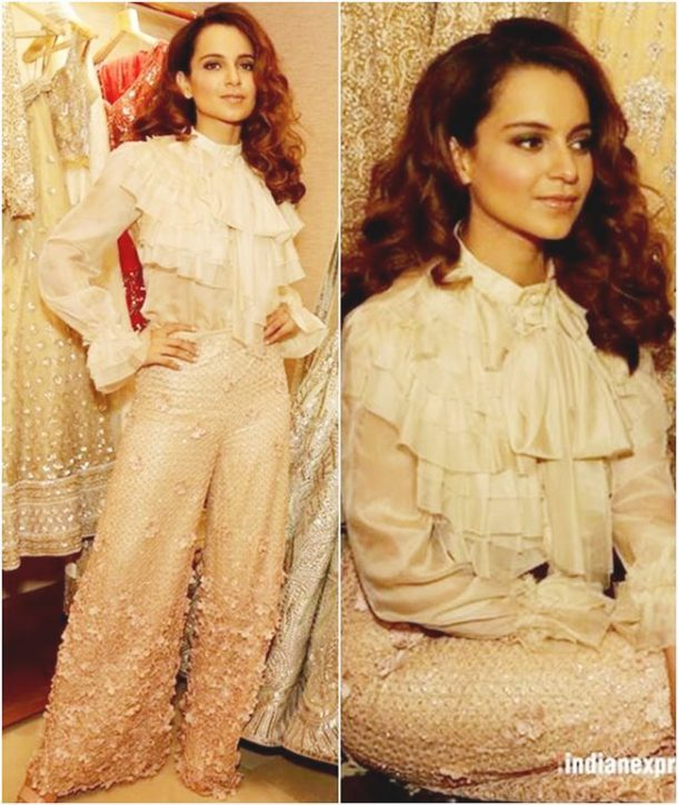MISS: Kangana Ranaut was spotted in a curious blend of Victorian fashion and modern tones for Neeta Lulla's store launch in Delhi.