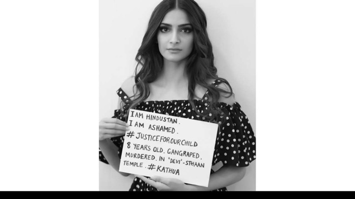 Sonam Kapoor took to her Twitter account to stand against those accused for the brutal rape and murder of an 8-year-old Kashmiri girl and the Unnao rape case. She shared her message for #JusticeForOurChild campaign holding a placard in her hand.