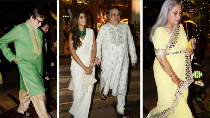 Bachchans are really close to the designer duo so it was little surprising to see Amitabh Bachchan along with Jaya Bachchan and Shweta Bachchan at the reception.
