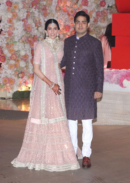 Akash Ambani poses with Shloka Mehta during their pre-engagement party in Mumbai on June 28, 2018.